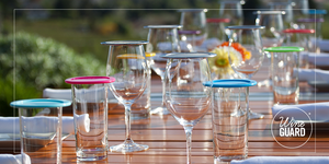 wine glass and drinking glass covers on a table