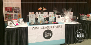 wine & glass covers display at winefest