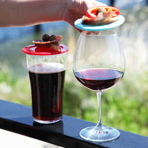 wine glass with lid and beer glass with cover