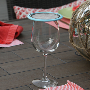 mesh wine glass lid with silicone edge