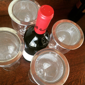 stainless steel wine glass lids on glasses