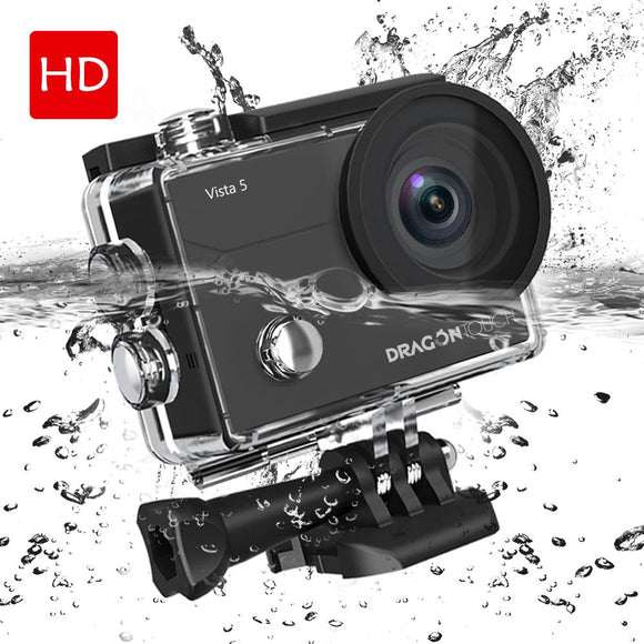 Dragon Touch 4K Action Camera Vista 5 16MP WiFi 30M Waterproof Camera Touch Screen 170°Wide Angle 2 Batteries and Mounting
