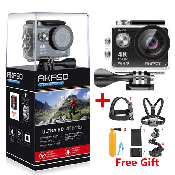 AKASO EK7000 4k WIFI Outdoor Sport Action Camera Ultra HD Waterproof DV Camcorder 12MP Extreme Underwater 1080p 60fps Video Cam