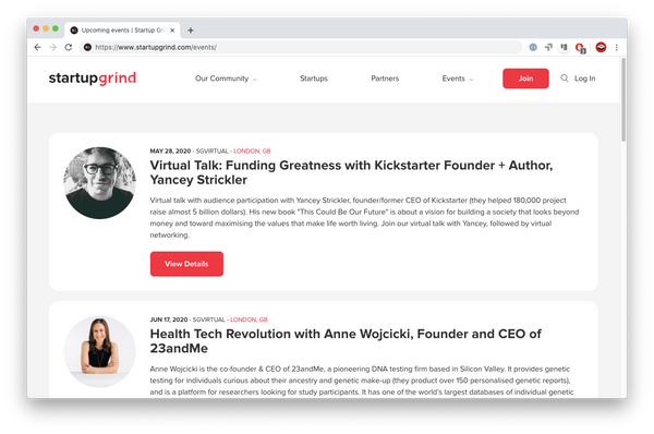 StartupGrind website