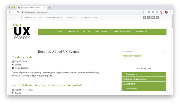 Find UX Events website