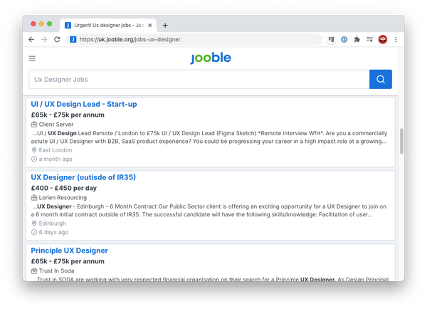 Jooble website for UX jobs search