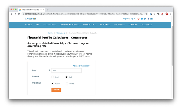 Contractor Calculator website for calculating income of contractor UX and UI designers in the UK