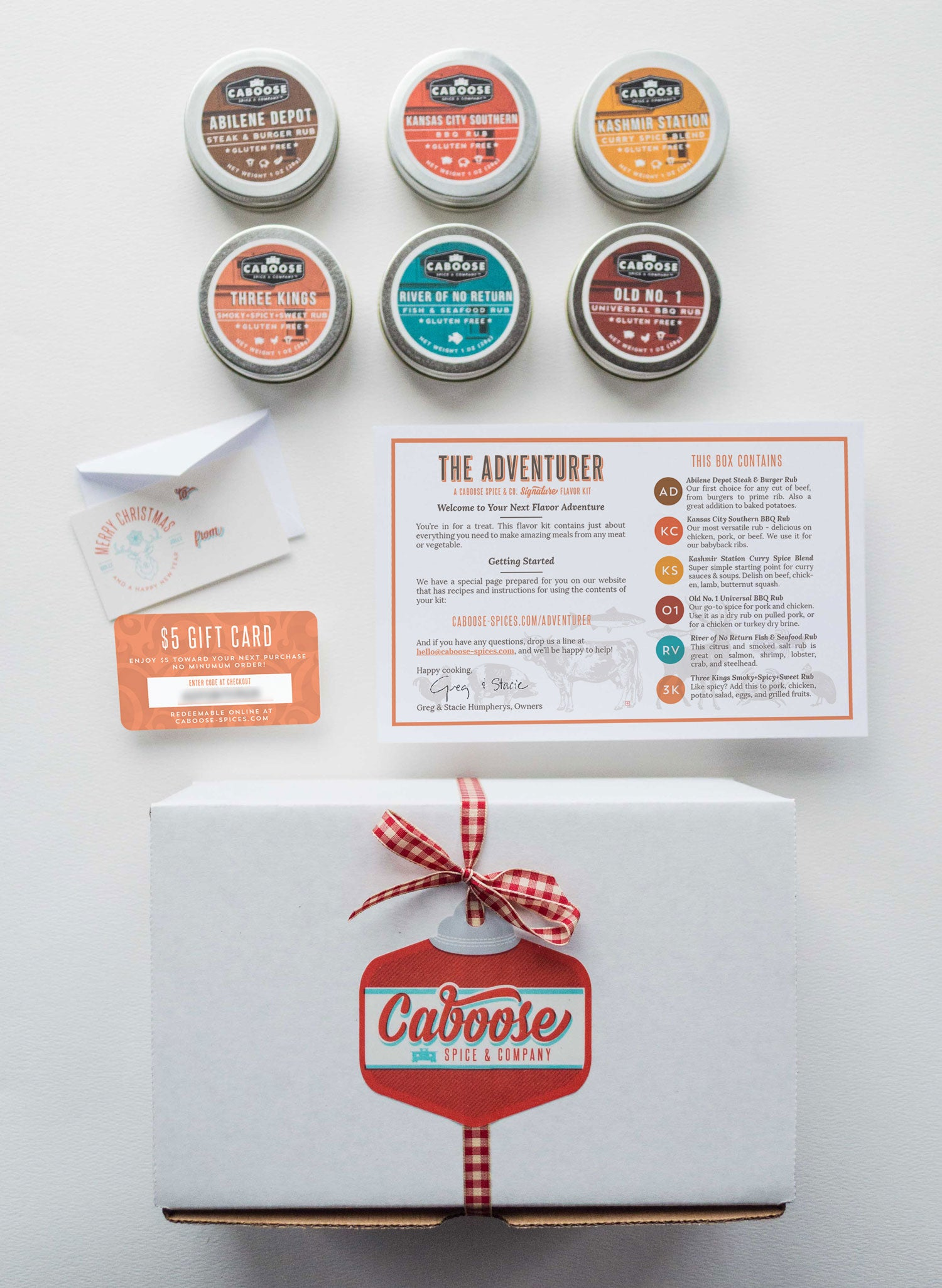 Meet the Adventurer Flavor Kit, a perfect gift for BBQ lovers: Includes six delicious Certified Gluten-Free dry rubs. Also includes a free $5 gift card for refills, gift tag & mini envelope, and tidy wrapping. Comes ready to put under the tree!