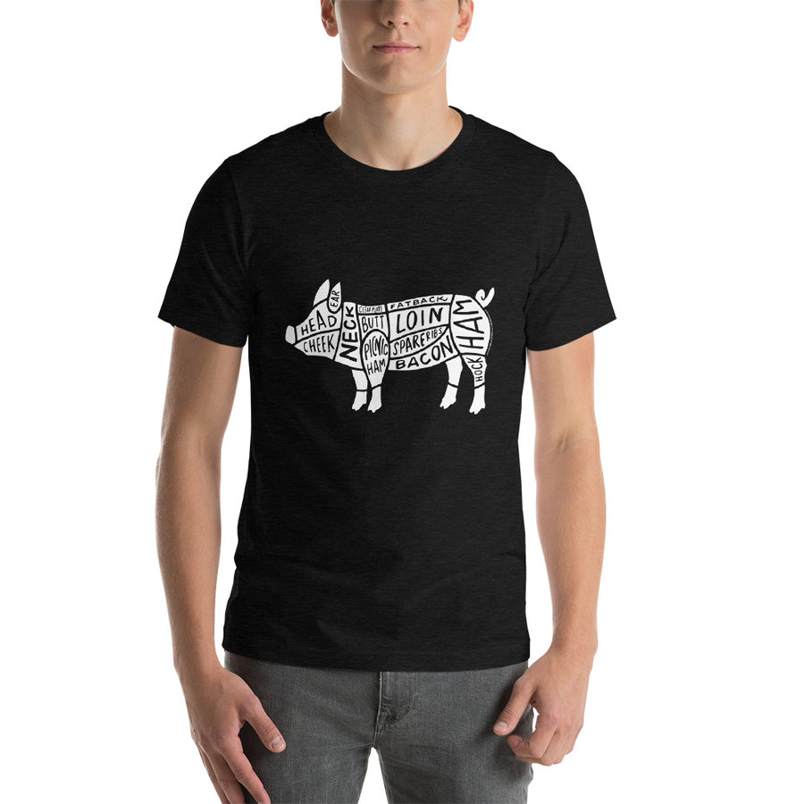 Short-Sleeve Pork Butcher Cuts T-Shirt (White Graphic)