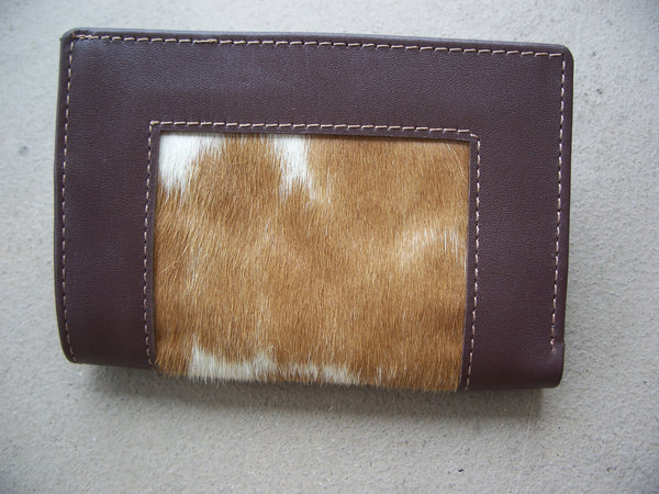 Men's Wallet Genuine Leather Hand Made Bifold With Real Cow Hair Skin Fur Purse Wallet Brown