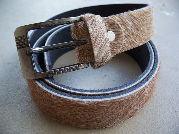 Men's Belt Genuine LEATHER BELT Cow Real Hair Skin Fur Leather Size 39-40' Belt Holder