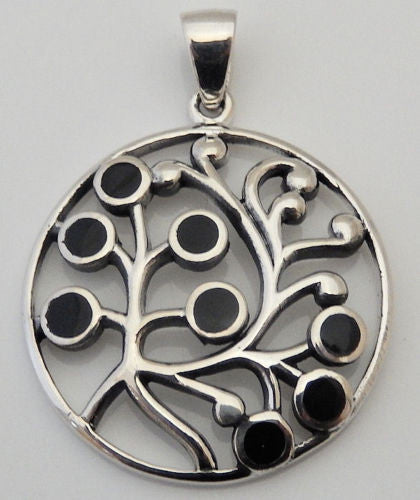 TREE of LIFE Pendant 925 Sterling Silver Etruscan Stylized Floral w/ black onyx