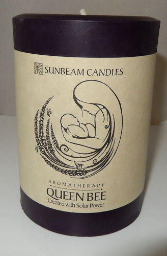 QUEEN BEE CANDLE 3 x 4 Pillar SUNBEAM CANDLES Beeswax SOY Mother Love Candle
