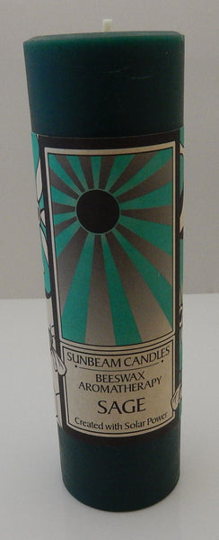 SAGE Beeswax Candle Sunbeam Candles Aromatherapy 2x6 Pillar Candle - Purify Revitalize Balance