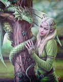 Kindred Spirits Dragon Wall Plaque Art Print - Anne Stokes Elf Maiden with Dragon