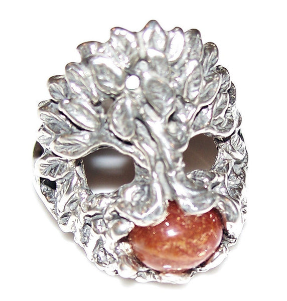 Celtic TREE of LIFE Ring in .925 Sterling Silver - DRUID World Tree w/ genuine Sunstone gem