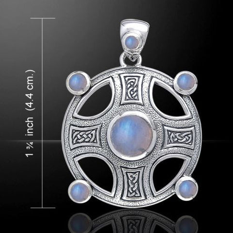 Celtic Cross of HARMONY Pendant .925 Sterling Silver with Rainbow Moonstone