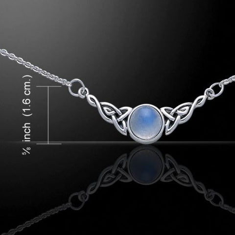 Celtic Knotwork Necklace in .925 Sterling Silver  with Moonstone FULL Moon - CELTIC TRISKELE