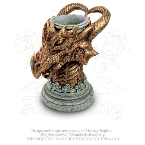 Gothic DRAGON Pillar Candle Holder - ALCHEMY GOTHIC Sacred KNIGHT Signum Draconis candle holder