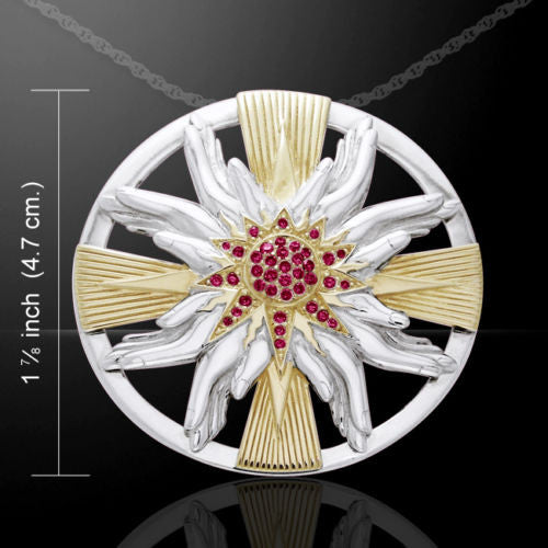 SOLAR CROSS Necklace in solid .925 Sterling Silver - DALI inspired Floral Sun Cross Necklace with Praying Hands