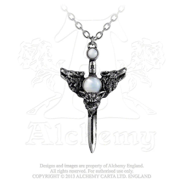 Wolf Moon Necklace Alchemy Gothic Guardian Wolves Pendant with Moonstone
