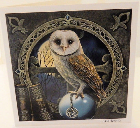 OWL Spell Keeper Greeting Card Lisa Parker Pentacle Crystal Ball Magick Owl Greeting Card