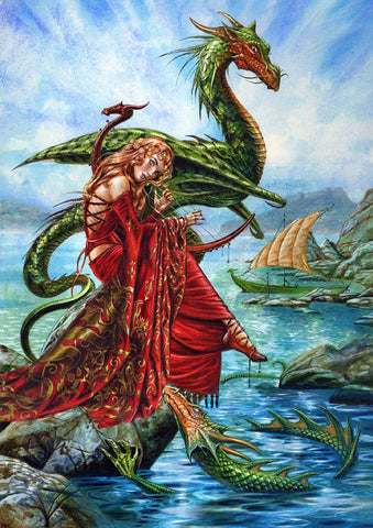 Dragon Charmer Viking Card by Briar | Maiden charms Norse Dragon Greeting Card