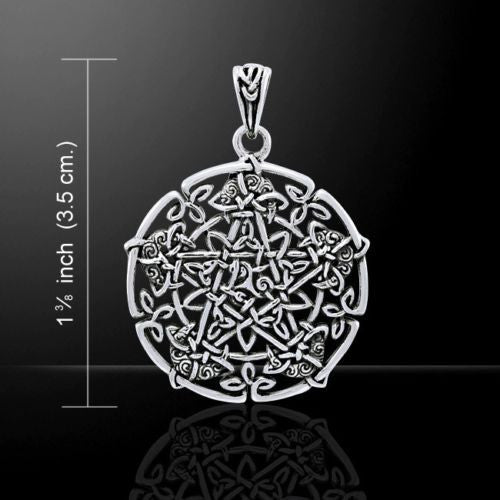 Moon PENTACLE Pendant 925 Silver GODDESS Celtic Irish w/ tiny Triquetra & Moons