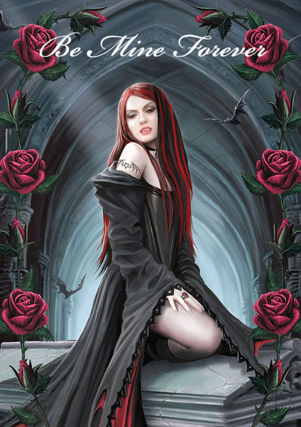 Vampire Immortal Love Greeting Card Anne Stokes | Await the Night Valentine Card Greeting Card