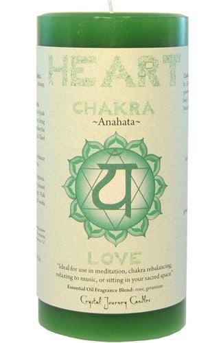 HEART CHAKRA Meditation candle Crystal Journey CANDLES Pillar ANAHATA Love