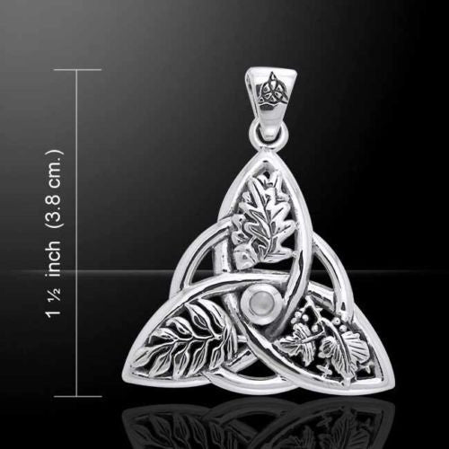 Oak Ash Thorn Pendant in .925 Sterling Silver - Celtic Knot Triquetra Faerie Magick DRUID Pagan pendant with Moonstone gem