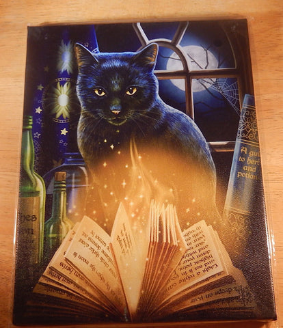Black Cat Wall Plaque Art Print Lisa Parker - Bewitched Moon Spell Kitty Magick Canvas Art Print