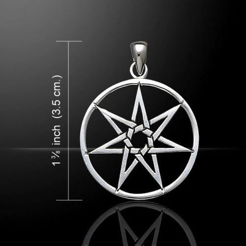 FAERY STAR Elven Pendant in .925 Sterling SILVER - Septagram Fae Elf Magick Pagan Amulet