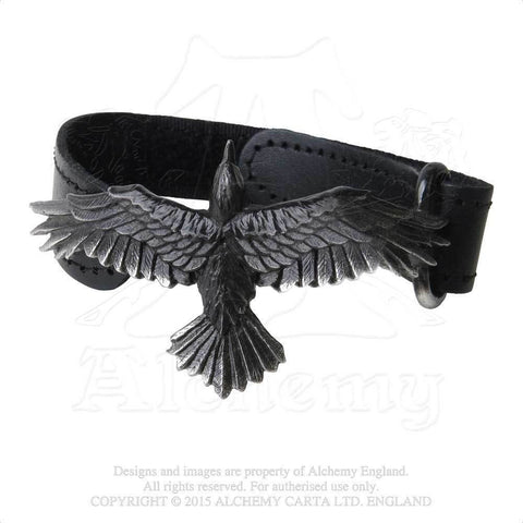 Raven Adjustable leather Strap Bracelet Alchemy Gothic Norse Viking Odin's Raven Bracelet