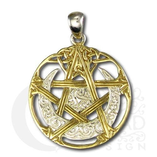 Horned MOON PENTACLE Pendant in .925 Sterling Silver with Gold accent - Dryad Design CELTIC ISIS Cut-out amulet