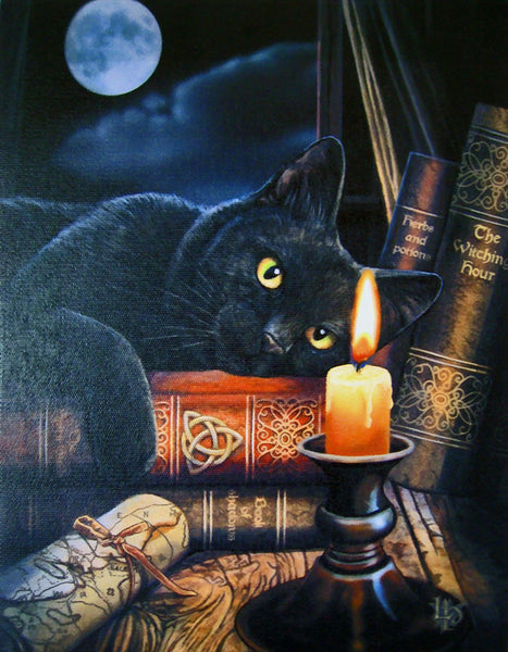 Black Cat Wall Plaque Art Print Lisa Parker - WITCHING HOUR Triquetra Kitty Magick Canvas Art