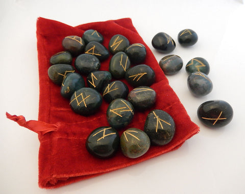 RUNE Set Elder Futhark Handmade BLOODSTONE Rune Oracle Set Norse Viking Runes