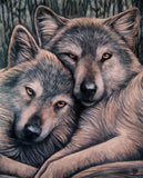 Wolf Snuggle Greeting Card Lisa Parker Loyal Companion Wolf Blank inside card