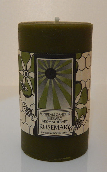 ROSEMARY CANDLE Beeswax SUNBEAM CANDLES Handcrafted 2x3 Aromatherapy Pillar