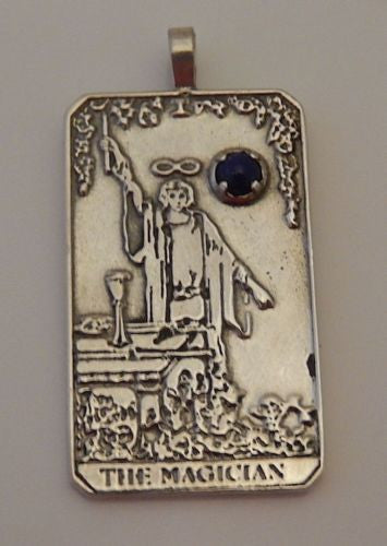 The MAGICIAN Tarot Card Pendant in .925 Sterling Silver with your choice of natural gemstone