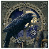 Raven Pentacle Greeting Card Lisa Parker Raven Crow with Full Moon and Magick Book Card