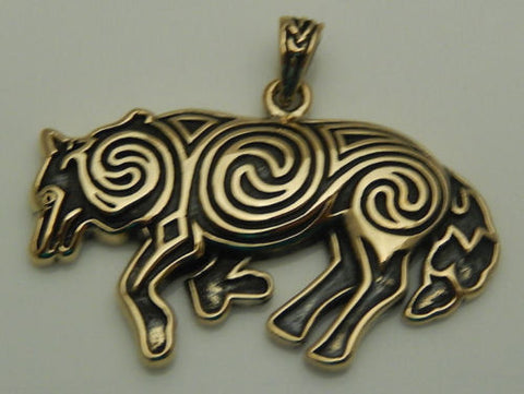 Celtic WOLF Pendant in Gold Tone Bronze - Celtic Spirals Norse Magick Wolf energy amulet