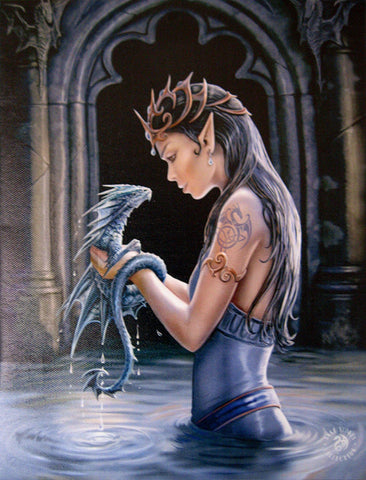WATER DRAGON Wall Plaque Art Print - Anne Stokes Elf Faery Maiden with Dragon Art