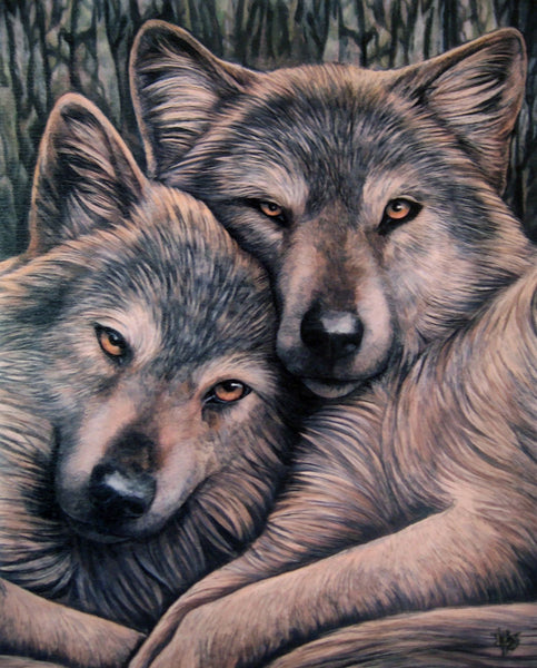 Wolf Snuggle Wall Plaque Art Print by UK Artist Lisa Parker - Loyal Companion Wolves Art