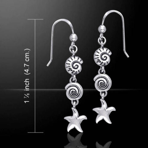 Sea Shell Starfish Earrings in .925 Sterling Silver - Nautilus Beach Dangle Earrings