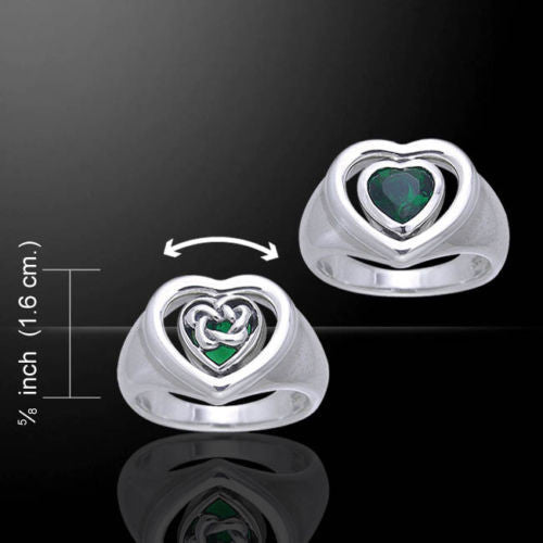 Celtic Heart Flip Ring Sterling Silver Sz 5 - 15 - Hidden Pentacle Green stone