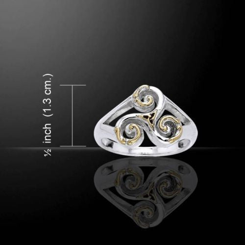 Celtic TRISKELE Ring in .925 Sterling Silver with Gold accent - Neolithic Spiral Triskelion ring