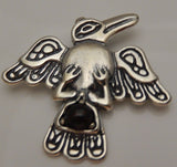 Raven Pendant .925 Sterling Silver with Bloodstone - Northwest Tribal Crow bird Pendant