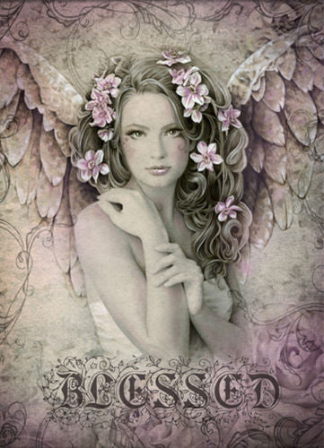 Blessed Angel Greeting Card Jessica Galbreth Angel Card Floral Blessed One Greeting Card