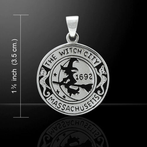 WITCH Pendant .925 Sterling Silver Magick amulet  Salem Witch 1692 Moon Cat Broom Pendant